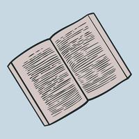 hand getrokken doodle open boeken. vector illustratie vintage schetsmatig van boekpictogrammen elementen symbolen van lezen en leren. bibliotheekboek van school- of universiteitsstudenten. onderwijs logo-element