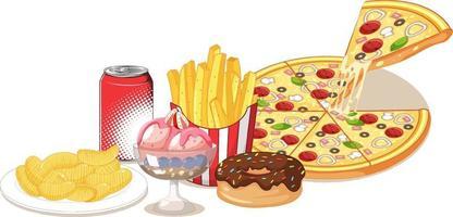 groep van junkfood en snoep op een witte achtergrond vector