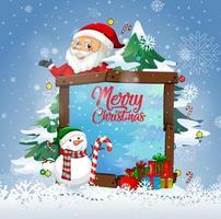 vrolijk kerstfeest lettertype met de kerstman in kerstthema vector