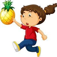 gelukkig meisje stripfiguur met een ananas vector