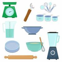 keukengereedschap accessoire eenvoudige geïsoleerde set collectie. keukengerei weegschaal, maatbeker, maatlepel, eierklopper en kom etc. kookconcept. vector platte cartoon grafisch ontwerp illustratie