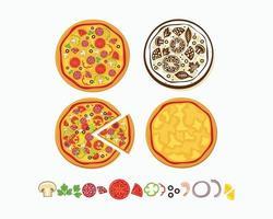 hete en pittige pizza vectorillustratie vector