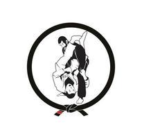 jiu jitsu jujitsu vergrendelingspositie karakterontwerp vector