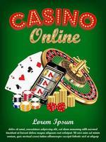 casino online smartphone met dobbelstenen en roulette vector