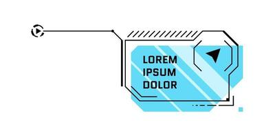 hud futuristische stijl blauwe toelichtingstitel. infographic call out box bar en moderne digitale info sci-fi frame layout template. interface ui en gui textbox-element. vector geïsoleerde illustratie