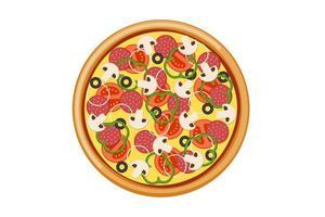 pizza met gesneden tomaten champignons salami worst ui paprika zwarte olijven en kaas. Italiaanse fastfood geïsoleerde vectorillustratie vector