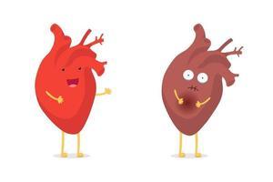 verdrietig ziek ongezond versus gezond sterk blij lachend schattig hartkarakter. medische anatomische grappige cartoon menselijk inwendig orgaan. vector platte eps illustratie