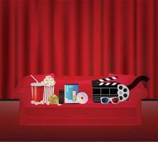 popcorn drinken op afstand dvd-filmdoos 3D-glasfilm op een rode bank met een rood gordijn backgrond vector