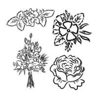 mooie zwart-wit zwart-witte boeketlelie die op achtergrond wordt geïsoleerd. hand getekend. ontwerp wenskaart en uitnodiging van de bruiloft, verjaardag, bloemensamenstelling vector schets op een witte achtergrond