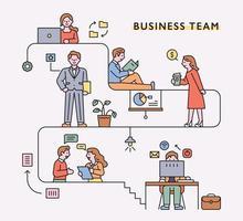 mensen uit het bedrijfsleven karakters en pictogrammen werken via lijnproces. platte ontwerpstijl minimale vectorillustratie. vector