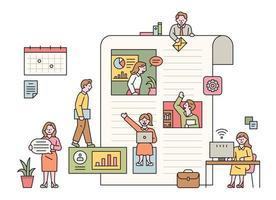 zakenmensen die binnen en buiten een grote papieren lay-out werken. platte ontwerpstijl minimale vectorillustratie. vector