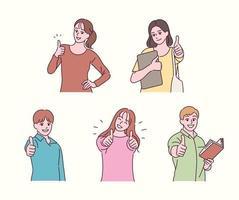 mensen houden hun duimen omhoog en geven een positieve reactie. hand getrokken stijl vector ontwerp illustraties.