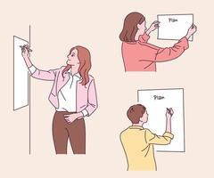 mensen plakken planken aan de muur en schrijven. hand getrokken stijl vector ontwerp illustraties.