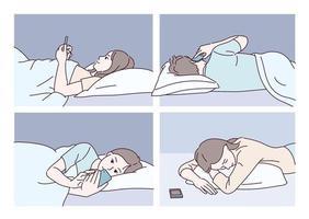 mensen die in bed liggen en naar mobiele telefoons kijken. hand getrokken stijl vector ontwerp illustraties.