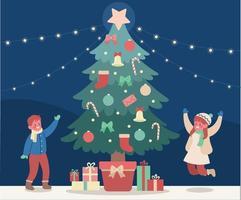 de kinderen zijn verheugd om de geschenkverpakkingen rond de grote kerstboom te zien. hand getrokken stijl vector ontwerp illustraties.