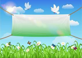 vinyl banners achtergrond met gras en lucht achtergrond vector