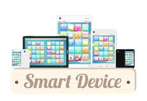 slim apparaat houten bord met slimme telefoon en tablet vector
