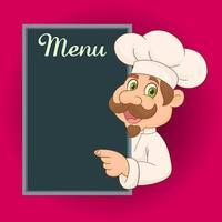 gelukkige chef-kok met bord voor menu vector
