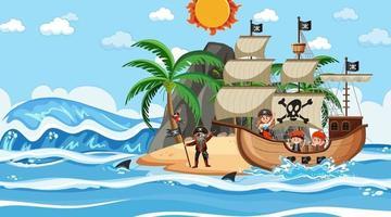 strand met piratenschip overdag in cartoon-stijl vector