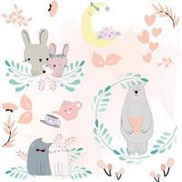 schattige dieren cartoon lente bloesem thema vector