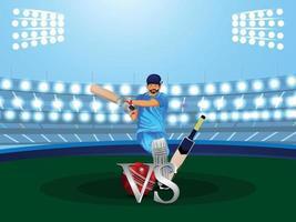 vectorillustratie van cricketspeler met stadionachtergrond vector