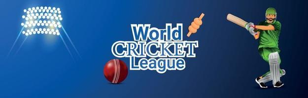 wereld cricket league-wedstrijd met vectorillustratie van cricketer op stadion achtergrond vector