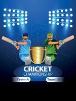 cricket kampioenschapswedstrijd met vectorillustratie van cricketspeler en stadionachtergrond vector
