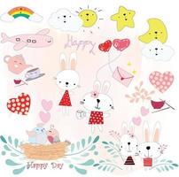 schattige konijnen cartoon, tuin concept vector