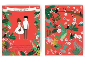 schattig lief paar en roze bloemenbloem in rode huwelijkskaart vector