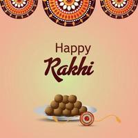 gelukkige rakhi uitnodiging wenskaart met creatieve rakhi en zoet vector