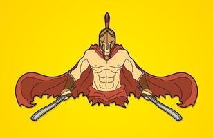 spartaanse krijger klaar om actie te bestrijden vector