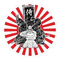groep samoeraikrijgers klaar om te vechten met Japanse tekst samoerai vector