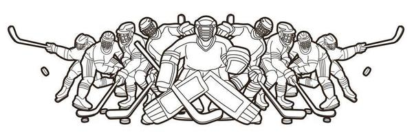 ijshockey mannen spelers team overzicht vector