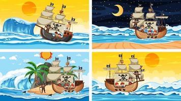 set van verschillende strandtaferelen met piratenschip en piraat stripfiguur vector