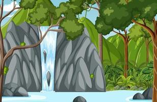 bosscène met waterval vector