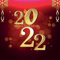2022 nieuwjaarsfeest wenskaart met gouden teksteffect vector