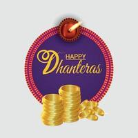 gelukkige dhanteras viering wenskaart met creatieve vector gouden munten en slinger bloem
