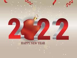 2022 creatief teksteffect met rode feestbal vector