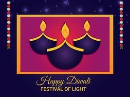 gelukkig diwali indisch festival, diwali het festival van licht met creatieve kalash op paarse achtergrond vector