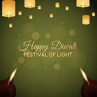 gelukkig diwali-festival van licht vectorillustratie van diwali diya en en diwali-lamp vector