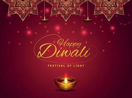 gelukkige diwali uitnodiging wenskaart met olielamp en diya vector