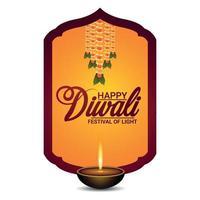 gelukkig diwali-festival van licht met diwali-diya op gele achtergrond vector
