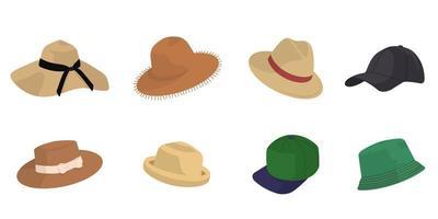 set van verschillende hoeden. mannelijke en vrouwelijke accessoires in cartoon-stijl. vector