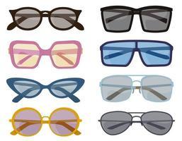 set van verschillende zonnebrillen. mannelijke en vrouwelijke accessoires in cartoon-stijl. vector