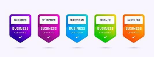 set van certificering van trainingsbadges voor bedrijven om te bepalen op basis van kleurrijke criteria. vector
