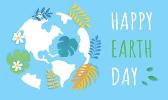 aarde dag concept, gelukkige aarde dag poster of banner achtergrond vector