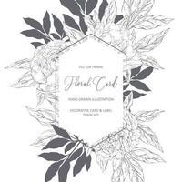 bloemenkaart in schetsstijl vector