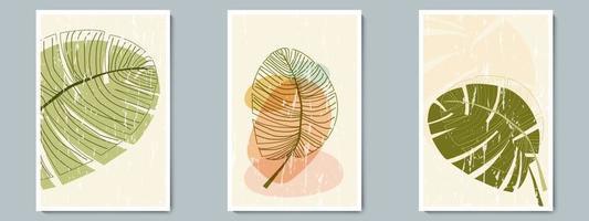 botanische muur kunst vector overzicht poster set. minimalistisch blad met abstracte eenvoudige vorm