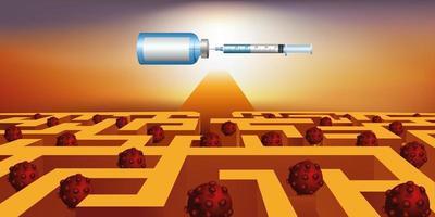 verlaat een labyrint naar vaccinatie tegen covid-19. vector