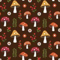 naadloze bos paddestoel patroon met bloemen en bessen vector